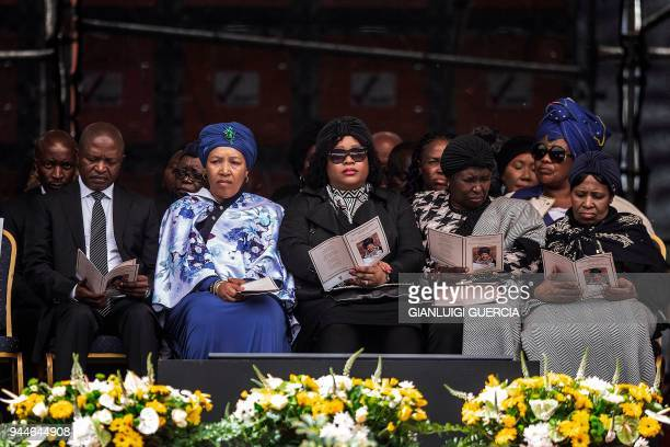 South African deputy President David Mabuza Zenani Zinzi Mandela attend a memorial service for late South African antiapartheid campaigner Winnie...
