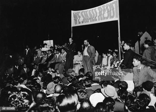 South African doctor and civil rights campaigner G. M. 'Monty' Naicker , president of the Natal Indian Congress and chairman of the Passive...