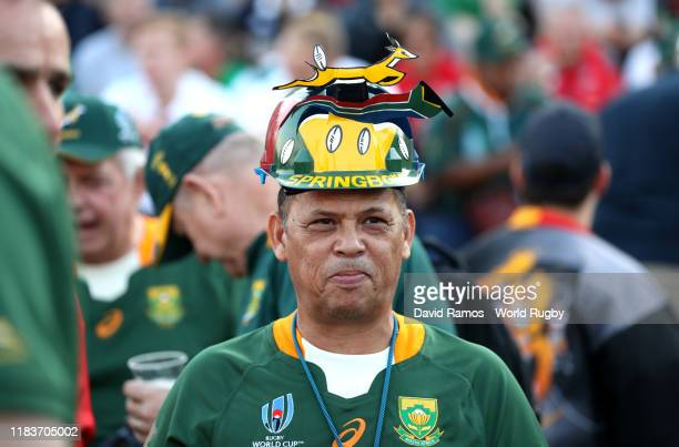 South African fan arrives at the stadium a the Rugby World Cup 2019 SemiFinal match between Wales and South Africa at International Stadium Yokohama...