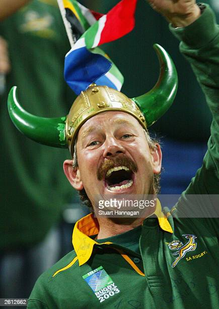 South African fan cheers his team prior to the Rugby World Cup Pool C match between England and South Africa at Subiaco Oval , October 18, 2003 in...