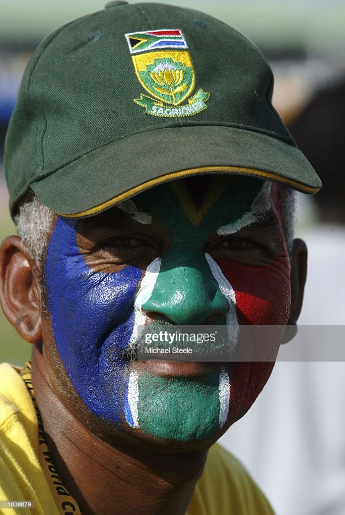 A South African fan with the South African national flag painted on his face during the ICC Cricket World Cup Pool B match between South Africa and Canada held on February 27, 2003 at Buffalo Park in East London, South Africa. South Africa won the match by 118 runs.