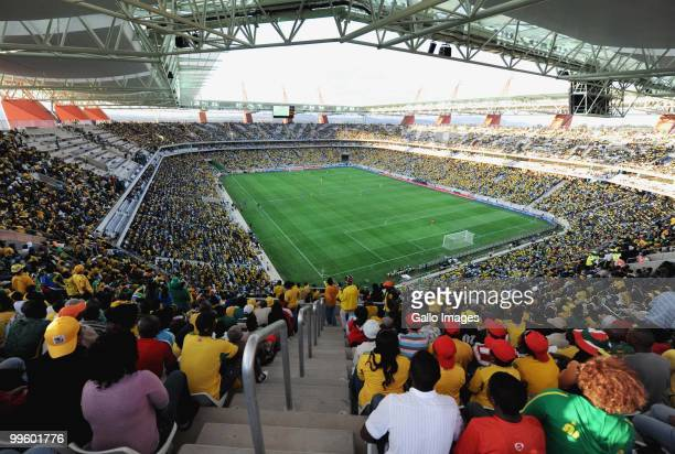 South African fans celebrate during the International Friendly match between South Africa and Thailand from Mbombela Stadium on May 16 2010 in...