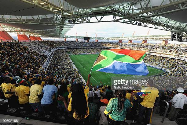 South African fans celebrate during the International Friendly match between South Africa and Thailand from Mbombela Stadium on May 16, 2010 in...
