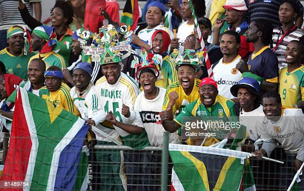 South African fans celebrates during the Africa Cup Of Nations and FIFA 2010 World Cup qualifying match between South Africa and Equatorial Guinea at...