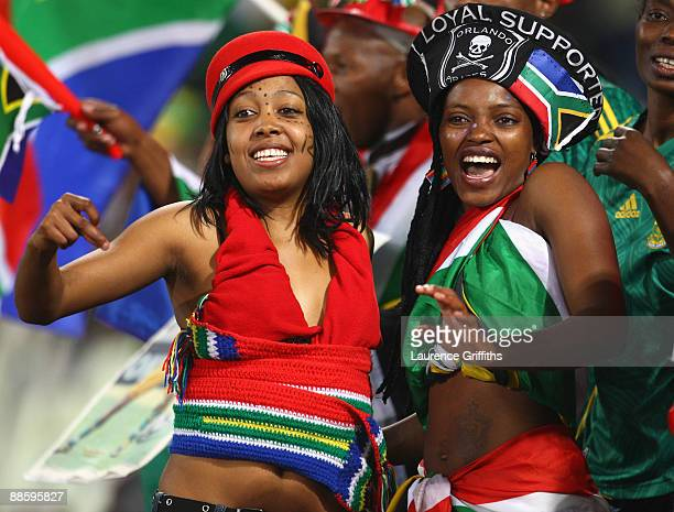 South African fans enjoy the atmosphere during the FIFA Confederations Cup match between Spain and South Africa at Free State Stadium on June 20,...
