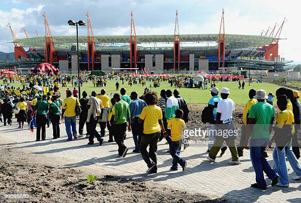 South African fans make their way to the stadium ahead the International Friendly match between South Africa and Thailand from Mbombela Stadium on...