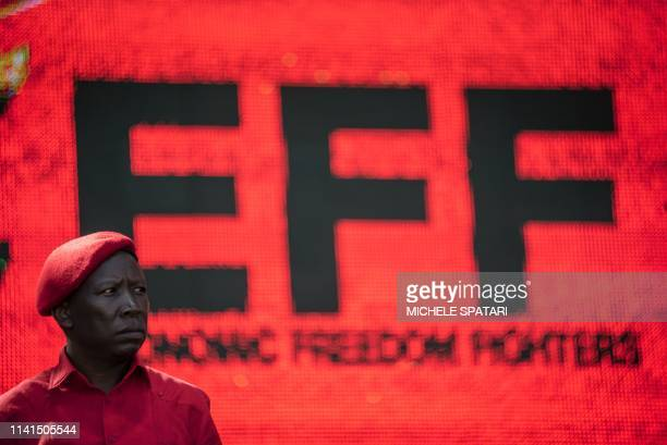 South African far-left and opposition party Economic Freedom Fighters leader Julius Malema addresses the crowd during the final EFF presidential...