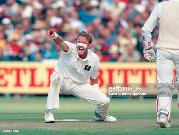 South African fast bowler Allan Donald in action during the 2nd Texaco Trophy match between England and South Africa played at Old Trafford in...