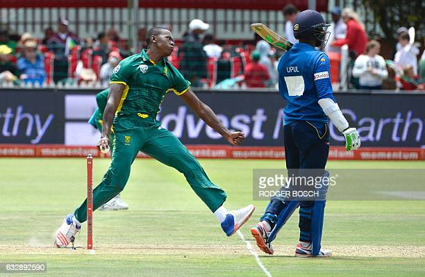 South African fast bowler Andile Phehlukwayo bowls during their One Day International cricket match against Sri Lanka at St George's Park on January...