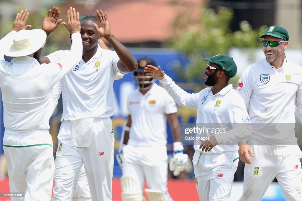 South African fast bowler Kagiso Rabada (2L) celebrating the wicket of Angelo Mathews (not in picture) with team mates during day 1 of the 1st Test match between Sri Lanka and South Africa at Galle International Stadium on July 12, 2018 in Galle, Sri Lanka.