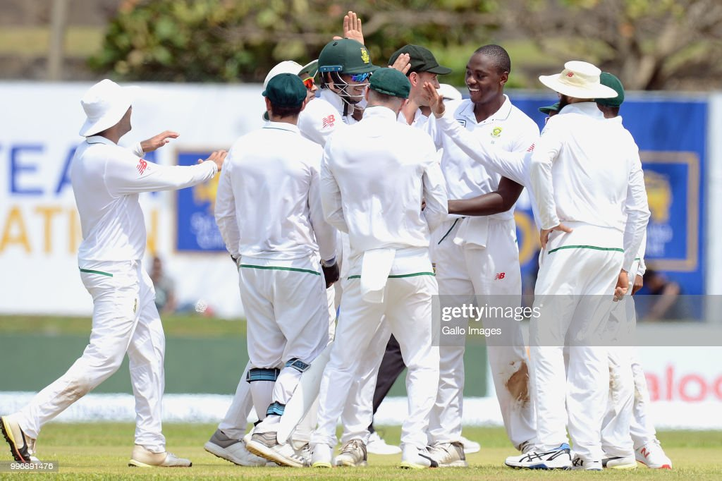 South African fast bowler Kagiso Rabada celebrating the wicket of Roshen Silva (not in picture) with team mates during day 1 of the 1st Test match between Sri Lanka and South Africa at Galle International Stadium on July 12, 2018 in Galle, Sri Lanka.