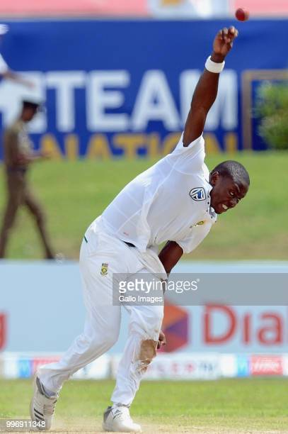 South African fast bowler Kagiso Rabada delivers the ball during day 1 of the 1st Test match between Sri Lanka and South Africa at Galle...