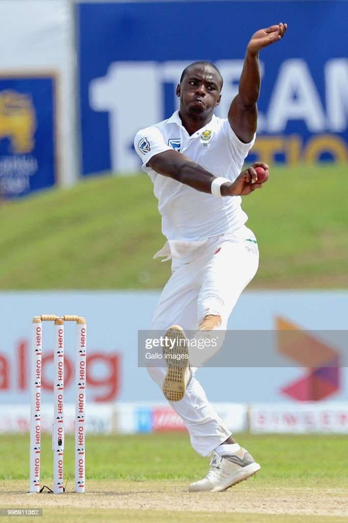 South African fast bowler Kagiso Rabada delivers the ball during day 1 of the 1st Test match between Sri Lanka and South Africa at Galle International Stadium on July 12, 2018 in Galle, Sri Lanka.