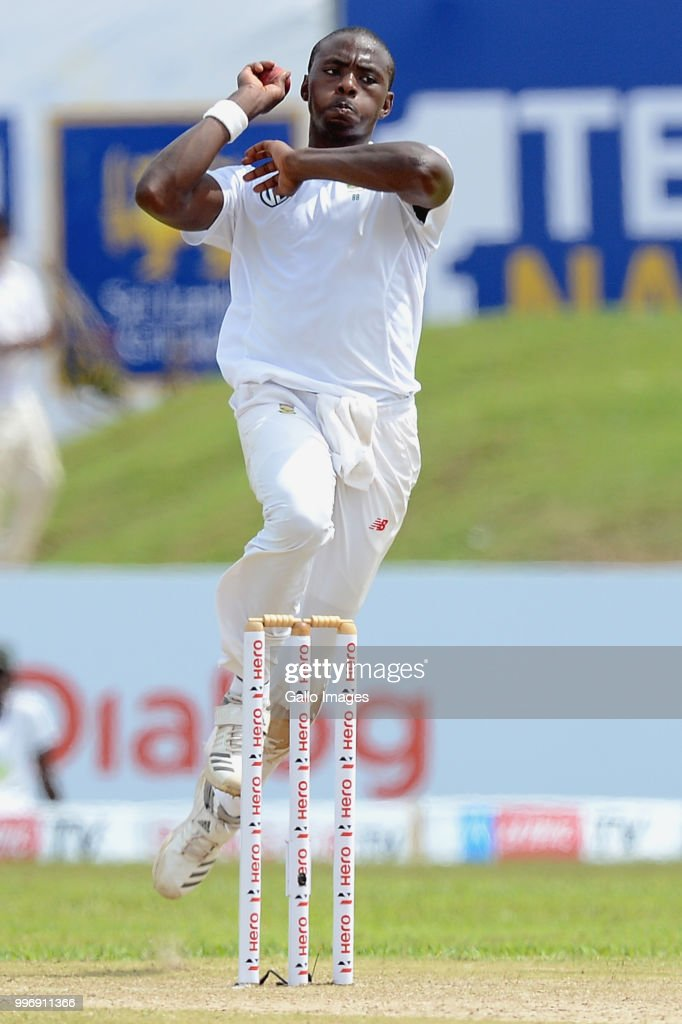South African fast bowler Kagiso Rabada taking the jump for deliver the ball during day 1 of the 1st Test match between Sri Lanka and South Africa at Galle International Stadium on July 12, 2018 in Galle, Sri Lanka.