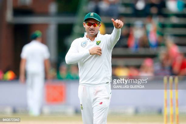 South African fielder Dean Elgar gestures at the public on the third day of the fourth Test cricket match between South Africa and Australia won by...