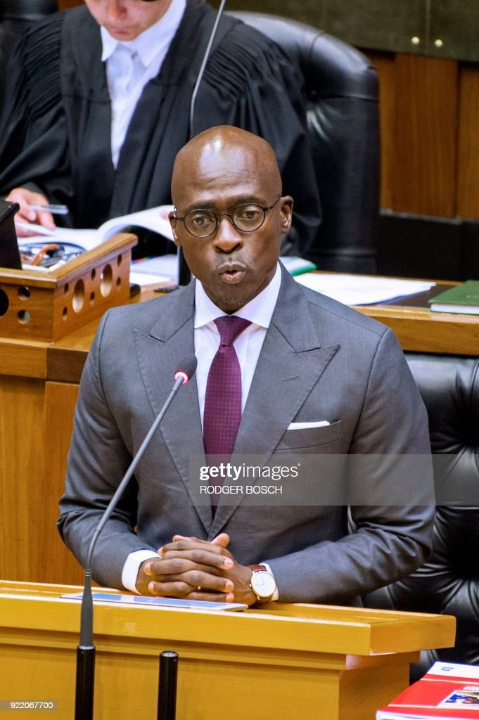 South African Finance Minister Malusi Gigaba delivers the 2018 Budget speech in the National Assembly at the South African Parliament, on February 21, 2018, in Cape Town. /