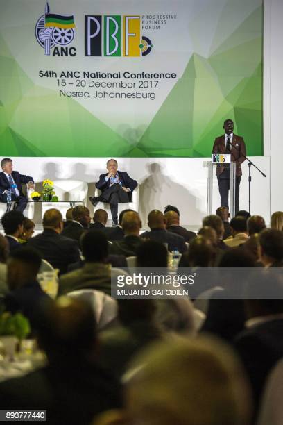 South African Finance Minister Malusi Gigaba gives a speech during the Progressive Business Forum as part of the 54th South Africa's ruling African...