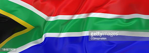 south african flag banner - south african flag stock photos and pictures