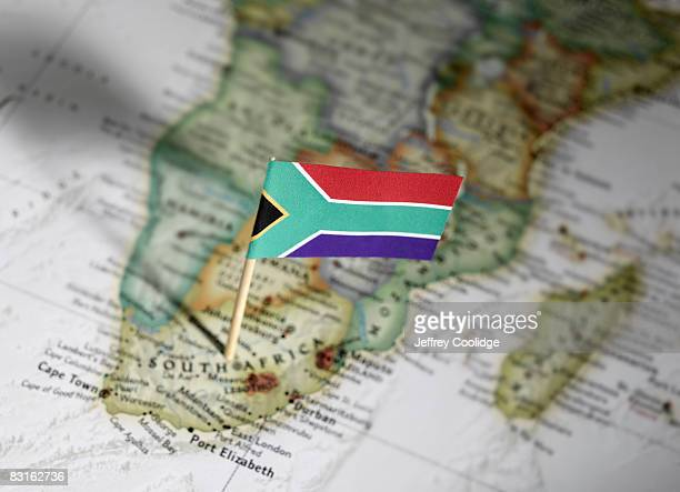 south african flag in map - south african flag stock photos and pictures