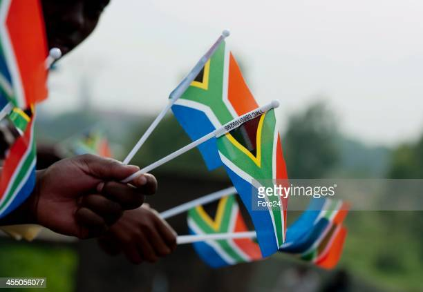 South African flags during Nelson Mandela's procession under way to the Union Buildings on December 11 2013 in Pretoria South Africa Former South...