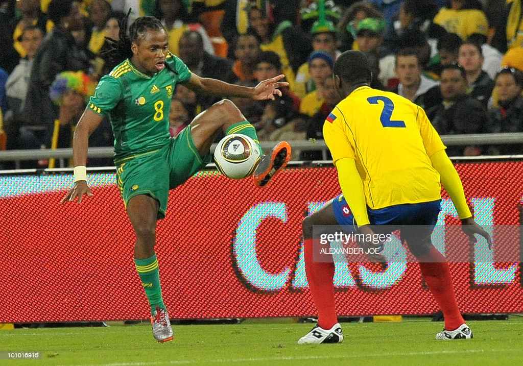 South African footballer Siphiwe Tshabalala (L) kicks the ball as Cristien Zapata looks at him during a friendly football match between South Africa vs Colombia at Soccer City Stadium in Soweto on May 27 , 2010 ahaed of the FIFA 2010 World Cup in South Africa.