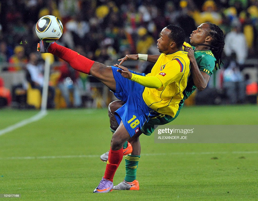 South African footballer Siphiwe Tshabalala (R) vies for the ball with Colombia's Camilo Zuniga during a friendly football match between South Africa vs Colombia at Soccer City Stadium in Soweto on May 27 , 2010 ahaed of the FIFA 2010 World Cup in South Africa.