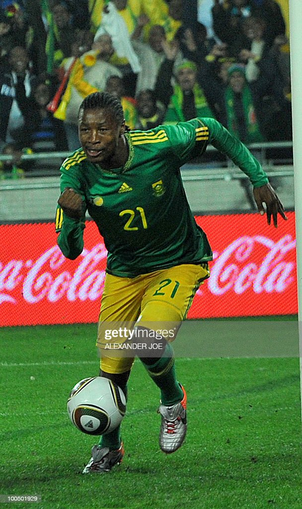 South African footballer Siyabonga Sangweni celebrates scoring the first goal against Bulgaria during the friendly football match between South Africa vs Bulgaria at Orlando Stadium in Soweto on May 24, 2010 ahead of the FIFA 2010 World Cup in South Africa.