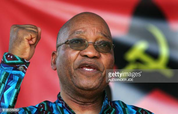 South African former deputy President Jacob Zuma gestures 30 July 2006 at a rally celebrating the South African Communist Party's 85th anniversary in...