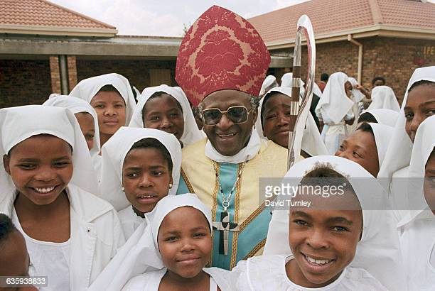 South African Girls with Bishop Tutu