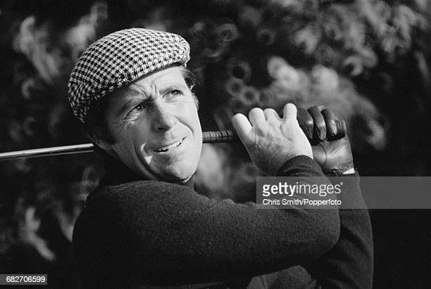 South African golfer Gary Player pictured in action to beat Graham Marsh in the final round of the 1973 Piccadilly World Match Play Championship to...