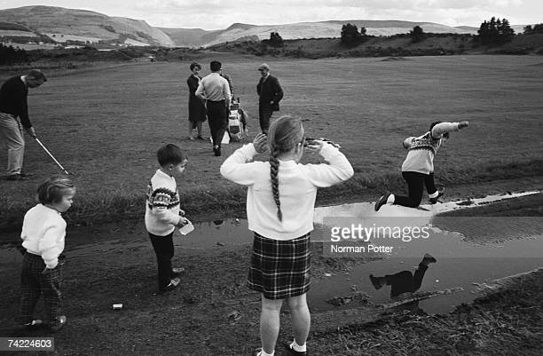 South African golfer Gary Player with his wife Vivienne and their children at Gleneagles, Scotland, before the Open, 2nd July 1966.