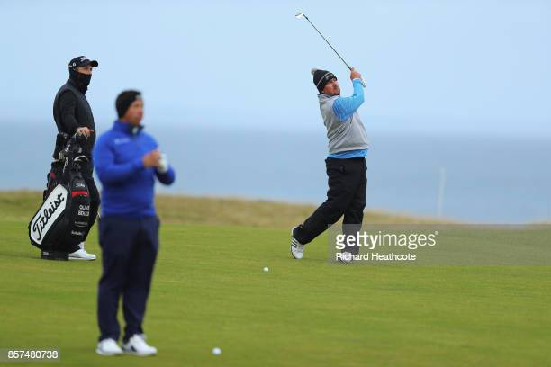 South African golfers Anthony Michael Jaco Ahlers Oliver Bekker during practice prior to the 2017 Alfred Dunhill Links Championship at Kingsbarns on...