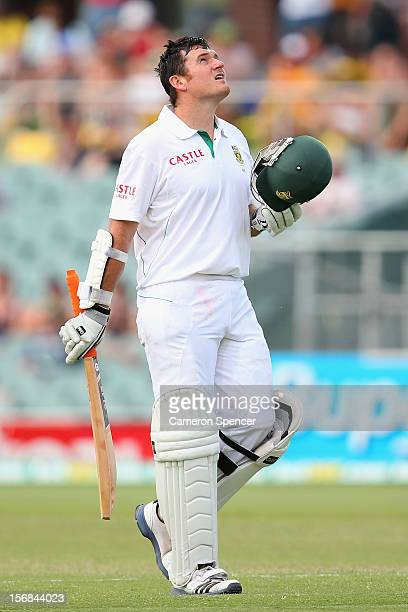 South African Graeme Smith celebrates scoring a century during day two of the Second Test match between Australia and South Africa at Adelaide Oval...