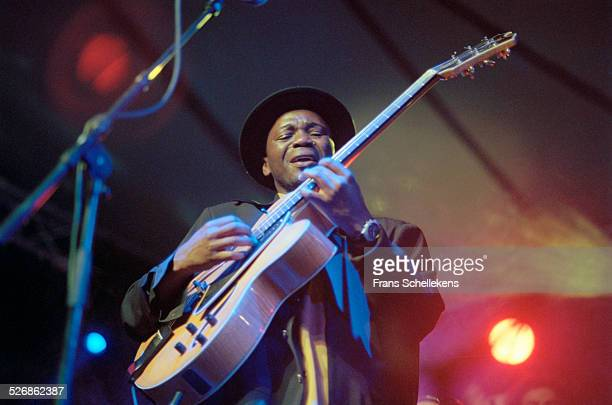 South African guitar player Jimmy Dludlu performs on July 11th 1999 at the North Sea Jazz Festival in the Hague, Netherlands.