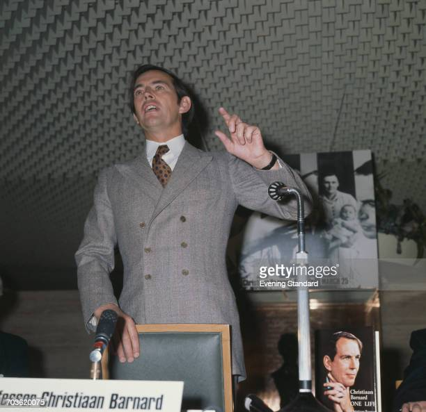 South African heart surgeon Christiaan Barnard speaking at the launch of his first autobiography 'One Life' UK 25th March 1970