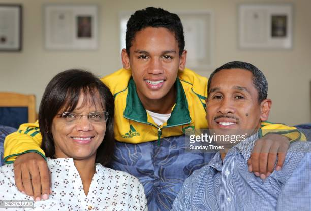 South African high jumper Breyton Poole is seen with his parents Charmaine and Herman Poole during an interview at his home on July 20 2017 in Cape...