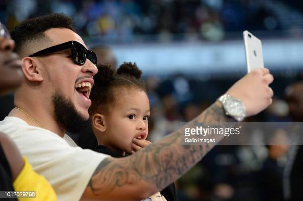 South African hip hop artist AKA and daughter Kairo Owethu Forbes during the NBA Africa Game 2018 at Sun Arena Time Square on August 04 2018 in...