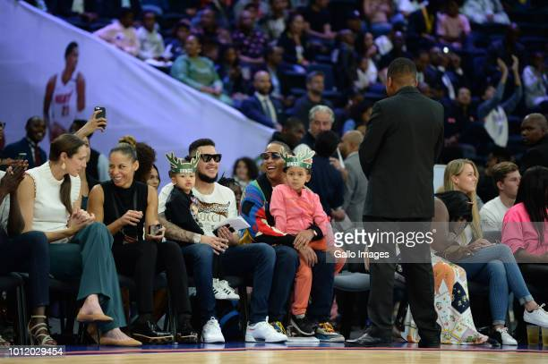 South African hip hop artist AKA with daughter Kairo Owethu Forbes and Rapper Da LES and daughter Madison during the NBA Africa Game 2018 at Sun...