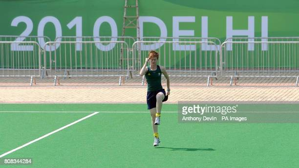 A South African hockey player warms up in the Dhyan Chand National Stadium the venue for hockey during the 2010 Commonwealth Games in New Delhi India...