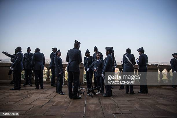 TOPSHOT South African honour guard gather ahead of President Jacob Zuma and Indian Prime Minister Narendra Modi arrival at the Union Buildings in...