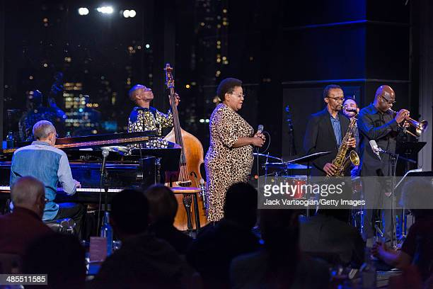 South African Jazz band Uhadi perform onstage at Dizzy's Club Coca-Cola at Jazz at Lincoln Center, New York, New York, April 3, 2014. Pictured are...