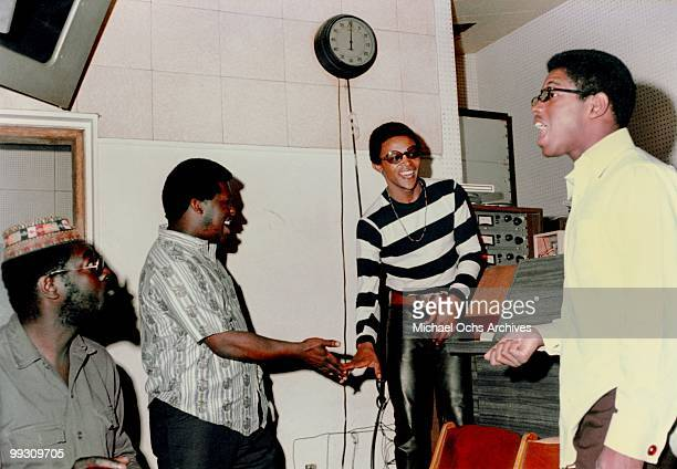 South African jazz trumpeter Hugh Masekela records at Gold Star studios in June 1967 in Los Angeles California