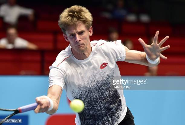 South African Kevin Anderson returns the ball to Georgian Nikoloz Basilashvili during the ATP Tennis Tournament in Vienna Austria on October 22 2018...