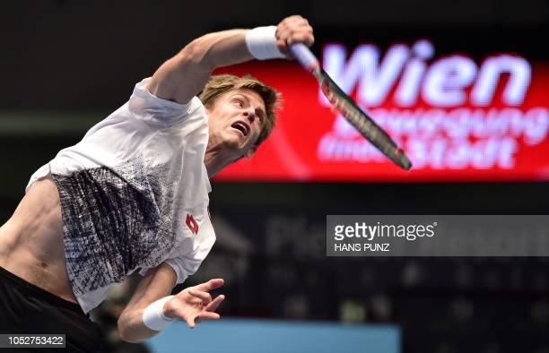 South African Kevin Anderson serves to Georgian Nikoloz Basilashvili during the ATP Tennis Tournament in Vienna Austria on October 22 2018 / Austria...