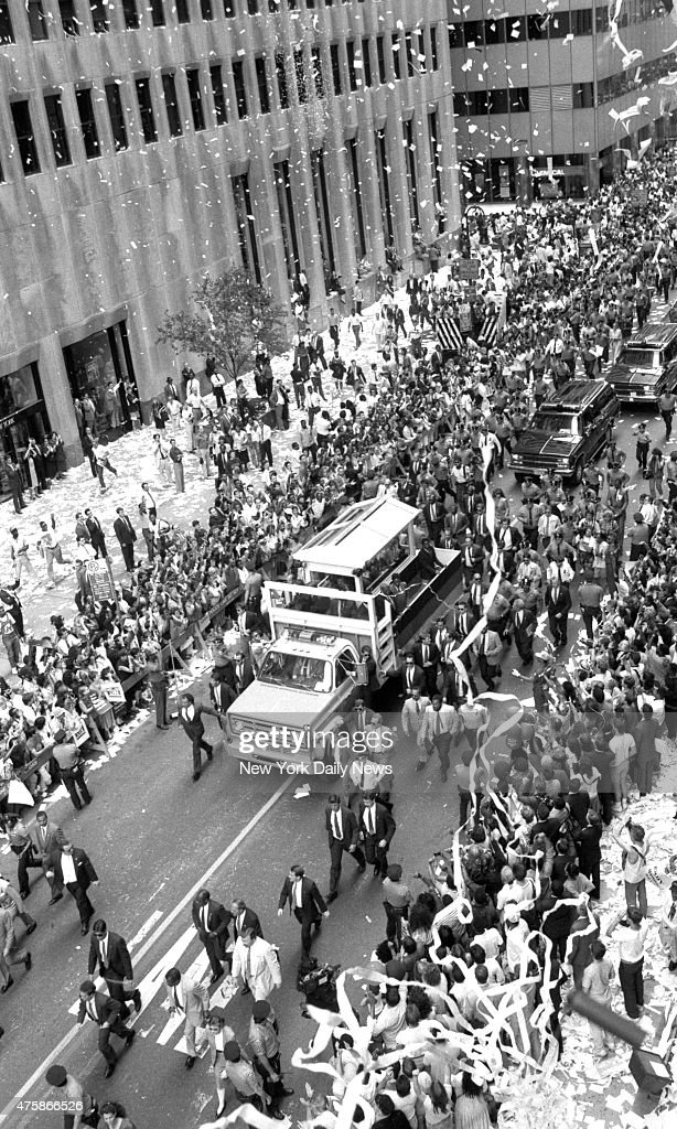 South African leader Nelson Mandela ticker tape parade in Manhattan.