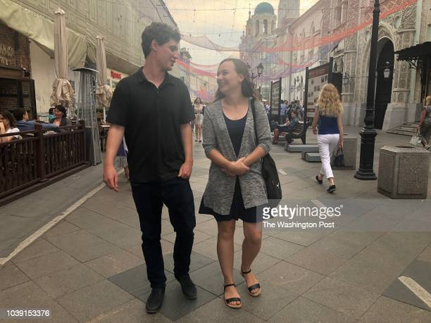 South African married couple Andrew Harris and Amy WheelerHarris stroll through central Moscow their home of almost two years