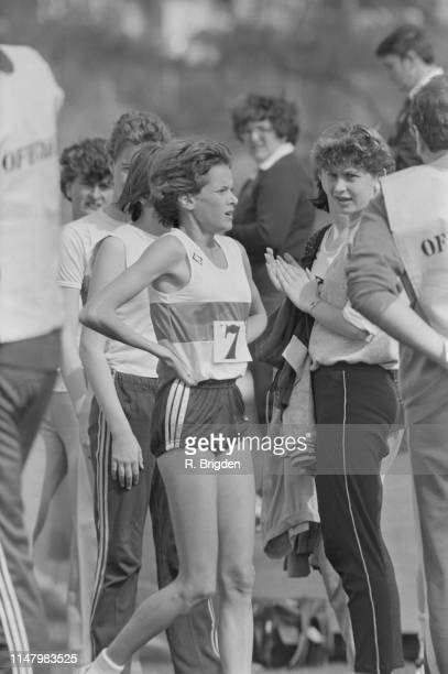 South African middle-distance and long-distance runner Zola Budd at an event in Crawley, UK, 15th April 1984.