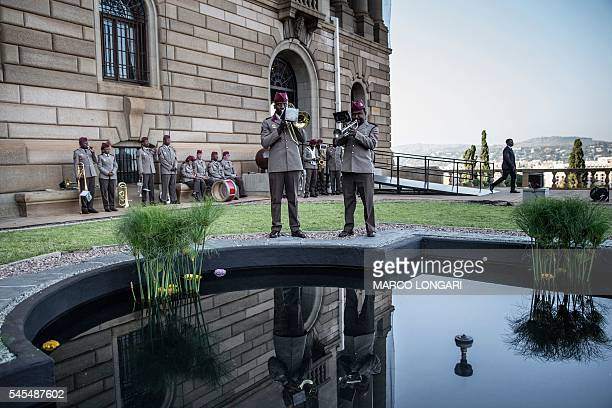 TOPSHOT South African military band rehearse ahead of President Jacob Zuma and Indian Prime Minister Narendra Modi arrival at the Union Buildings in...