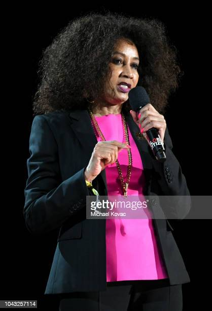 South African Minister of Defence and Military Veterans Lindiwe Sisulu speaks onstage during the 2018 Global Citizen Concert at Central Park Great...