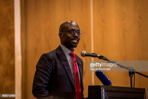 South African Minister of Finance Malusi Gigaba addresses the guests at the PreWorld Economic Forum Breakfast which takes place ahead of the WEF...